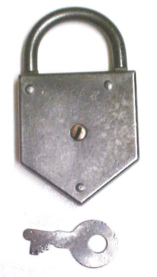 Iron Padlock w/ Key Late 1800's