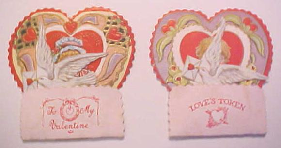 Antique Valentines Card 2Pc Honeycomb Vintage Boy and Girl