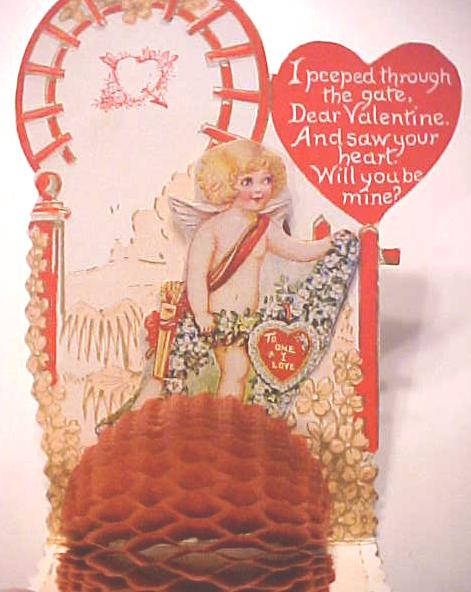 Honeycomb Valentines Card Cherub Antique Near Mint