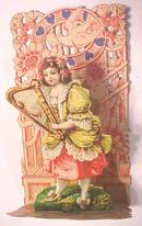 Antique Valentines Card Fold Out Germany Girl with Harp