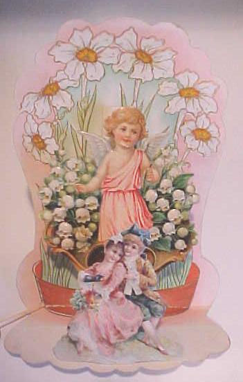 Antique Valentines Card Cherub Floral Fold Out
