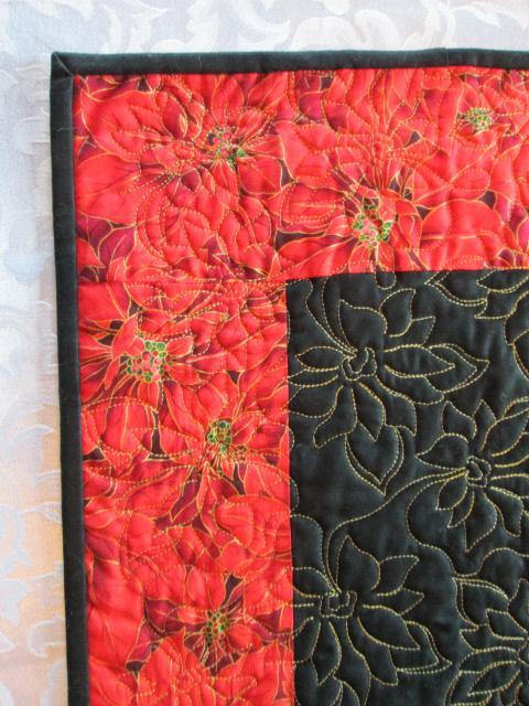 Table Runner Table Topper Decoration Red/Black Poinsettia Quilted