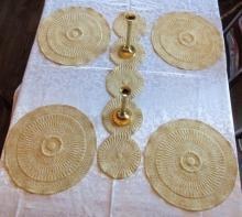 Place Mats & Table Runner Quilted Gold Color