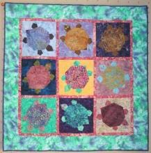 Turtle Quilt Applique Wall Hanging Custom Quilted Batiks Art Quilt