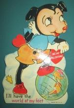 Mickey Mouse Valentines Card World at Feet 1930's USA