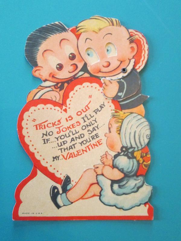 Katzenjammer Kids Valentines Card 1930's Mechanical