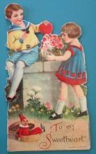 Roses Valentines Card 1930's Mechanical Boy Girl