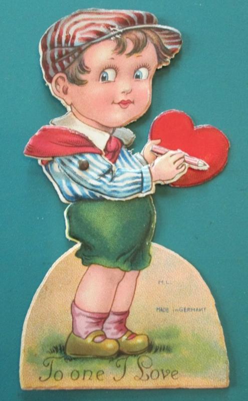 Boy w/Pencil Valentines Card 1930's Mechanical