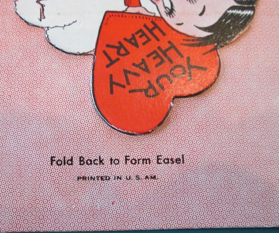 Heavy Heart Valentines Card 1930's Boy Holding Heart