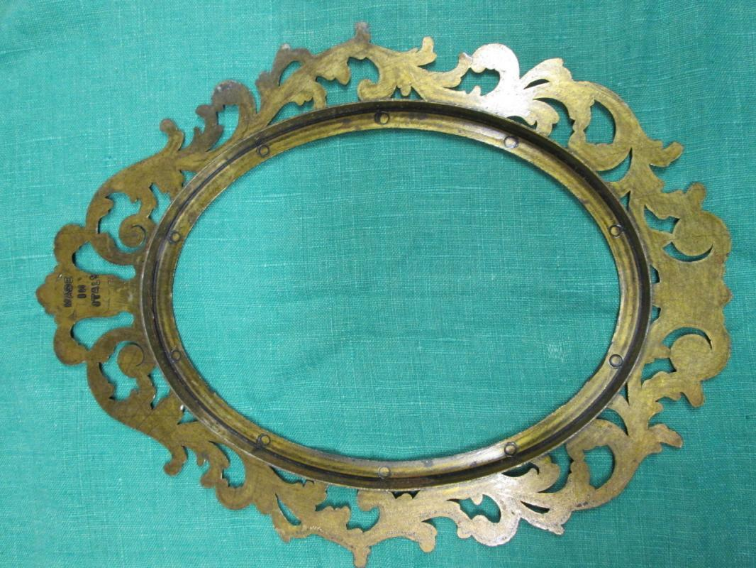 Ornate Brass Oval Picture Frame Italy