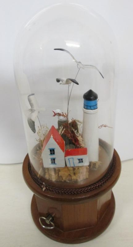 Music Box Lighthouse w/Flying Seagulls Under Glass