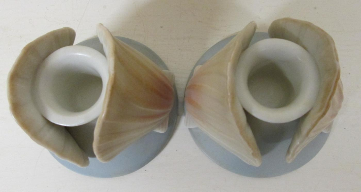 Seashell Candle Stick Holders Pair