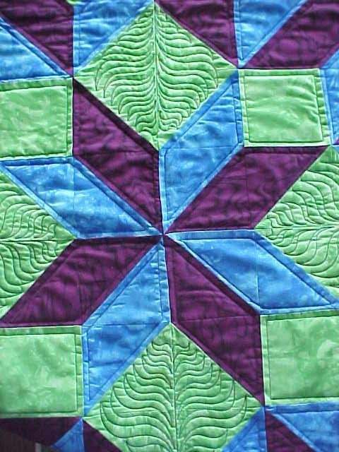 Quilted Wall hanging Lime Blue Maroon Carpenters Wheel 42x44