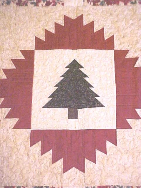 Christmas Tree Quilt Wall Hanging Holly Poinsettias 41x41