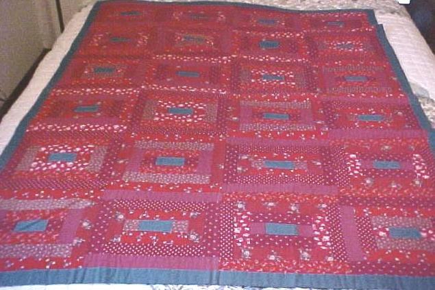Lap Quilt Red & Blue Vintage Log Cabin Country