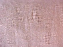 Peach Linen Tablecloth 56 x 75 Vintage