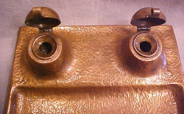 Copper Inkwell Arts and Crafts Era Dble