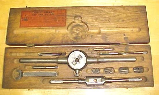 Vintage Craftsman Tap & Die Set w/ Wood Box