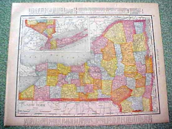 Antique Map Connecticutt New York 1912