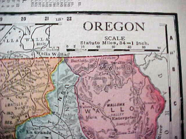 Antique Map Oregon Washington 1912
