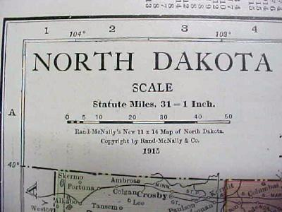 Map North Dakota 1916 Nice Details & Colors