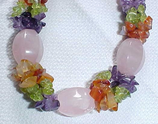 Choker Necklace & Bracelet Amethyst Peridot