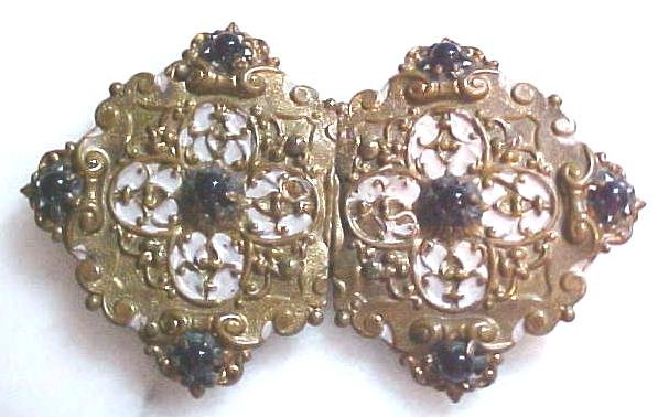 Belt Buckle Victorian Ladies 2 PC Amethyst Ornate