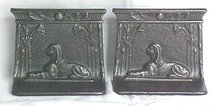 Egyptian Sphinx Bookends Ornate Metal