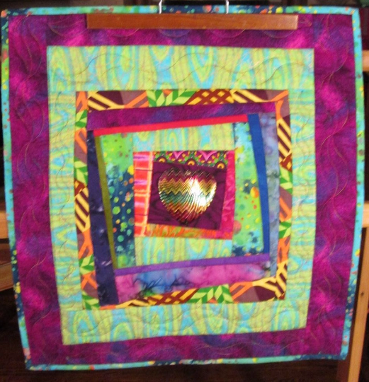 Art Quilt Abstract Heart Colorful
