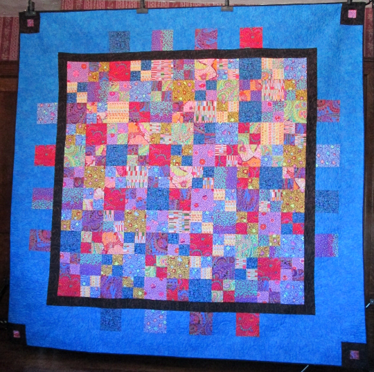 Quilt Patchwork Gypsy Song Full Queen Electric Blue Bright Colors Fassett