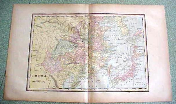 Antique Map China 1894 Large Foldout