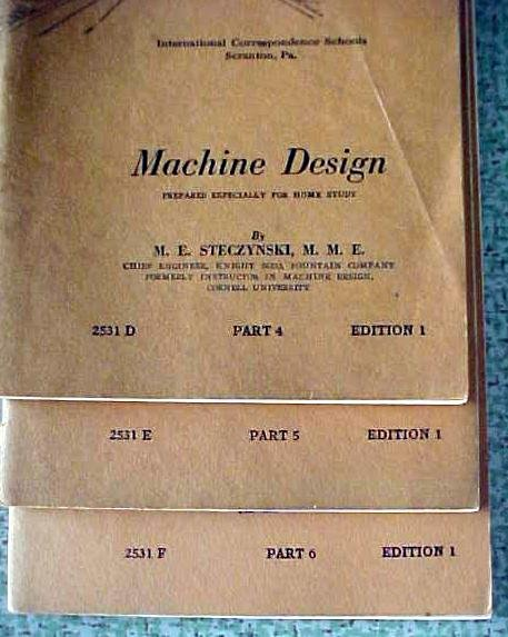 Machine Design 6 Vol International Correspondence 1933