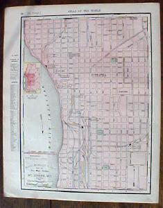 Map St Louis & St Joseph Street Maps 1901 Colorful