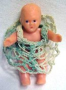 Miniature Rubber Dolls 3PC Crochet Outfits Stroller