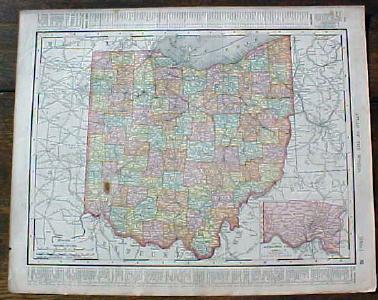 Antique Map Ohio State & Cincinnati Street Map 1901 Colorful