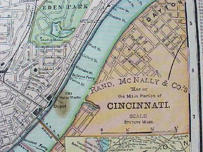 Antique Map Ohio State & Cincinnati Street Map 1901 Colorful