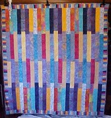 Batik Quilt Blue Aqua Pink Orange Tropical 75 x 82