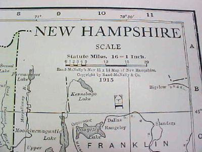 Map New Hampshire 1916 Nice Details & Colors