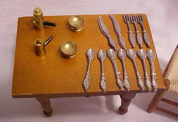 Doll House Wood Kitchen Table + Silverware & More