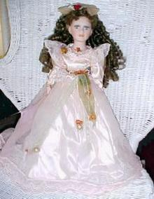 Porcelain Doll Victorian Style Long Curly Hair Green Eyes