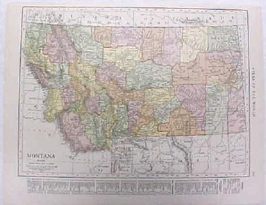 Antique Map Montana 1916 Nice Details & Colors