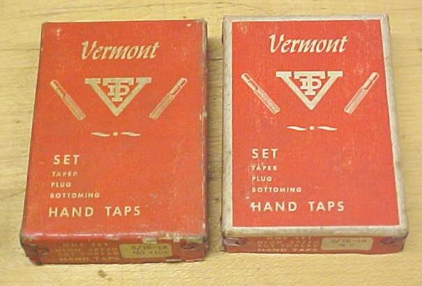 Vermont Taps Boxed Tap Set 5/16-18 Nice Vintage Set!