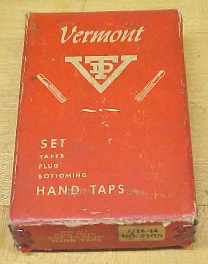 Vermont Taps Boxed Tap Set 7/16-14 Nice Vintage Set!