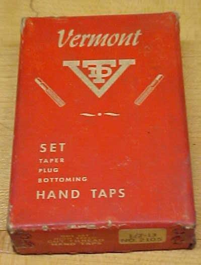 Vermont Taps Boxed Tap Set 1/2-13 Nice Vintage Set!