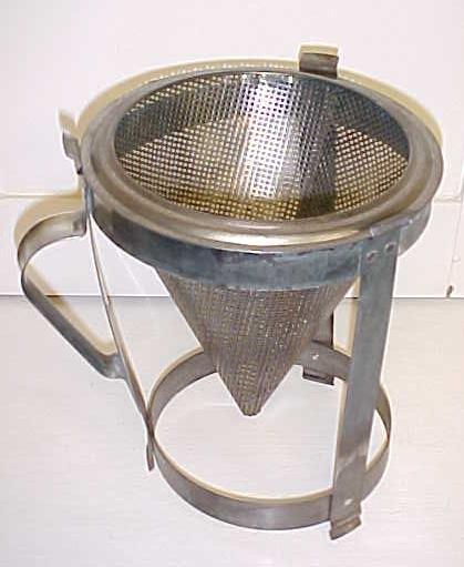 Antique Sieve Strainer Kitchen Canning w/ Holder Stand 9 inch