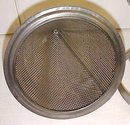 Antique Sieve Strainer Kitchen Canning w/ Holder Stand 9 inch