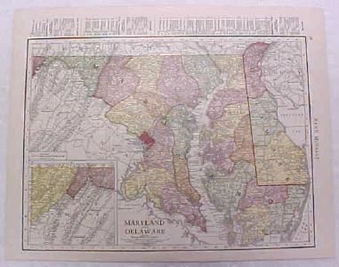 Antique Map Maryland Delaware 1916 Nice Details & Colors