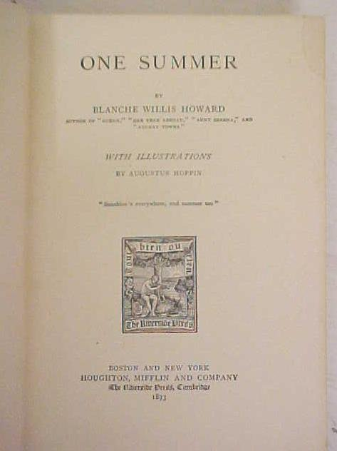 One Summer by Blanche Howard 1893