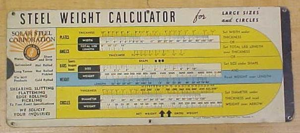 Steel Weight Calculator Solar Steel Corp.  1947