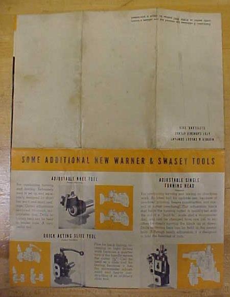 Warner & Swasey Single Cutter Turner Pamphlet